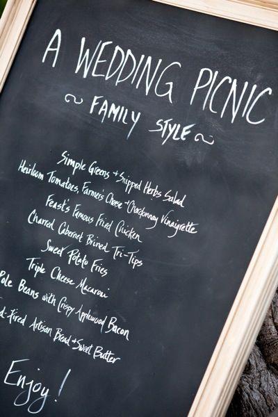 A Wedding Picnic Chalkboard Family Style