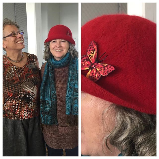 Here's #textileartist Judy Villett with one happy customer. It might be hard to tell but Judy makes her incredible #butterfly pins out of fabric! #textileart #butterflies #pin #pins #mixedmedia #ecofriendly #ecofriendlyfashion #fabric #fineart #artstudio #artgallery #100braidst #madeinnewwest #bcartist #maker #makers #artisan #fabricart #fabricarts #vancouver #mapleridge #portmoody #burnaby #bugs #bugsunderglass #sapperton
