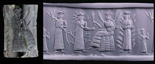 Akkadian green serpentine cylinder seal,  2334-2154 B.C.   Boldly carved with fine detail with Nissaba, the goddess of barley and writing, seated to the right wearing a horned tiara, a necklace and a long flounced robe, her hair falling in a long plait with a curl at the end, 4 cm long. Private collection