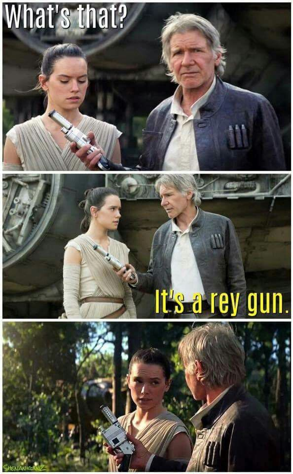 What's that? It's a rey gun. Star Wars The Force Awakens with Rey and Han Solo