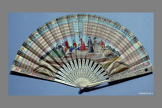 Fan  Maker: Fernando Coustellier and Co.  Date: ca. 1835 Culture: French (Paris) Medium: Paper, ivory, silver Dimensions: 16 1/4 x 8 1/2 in. (41.3 x 21.6 cm)