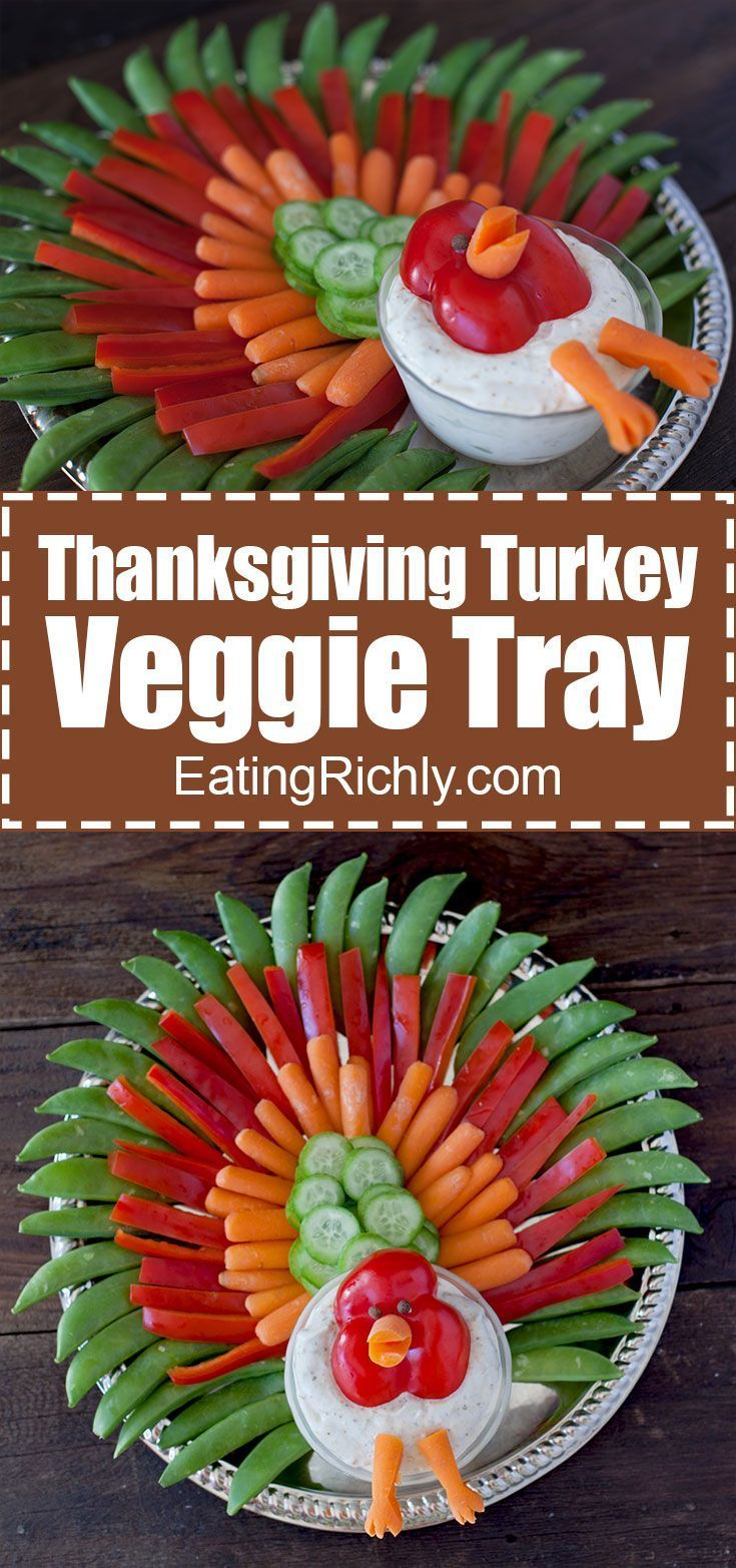 Thanksgiving turkey veggie tray. Such a cute idea! Great way to get kids to eat their veggies. Use hummus to make it #dairyfree and #vegan. From http://EatingRichly.com