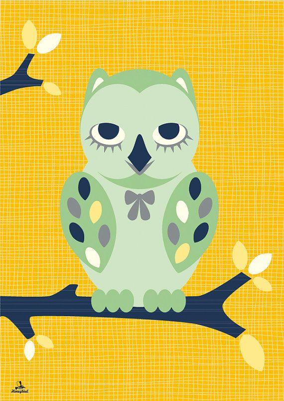 Uil poster van MissHoneyBird op Etsy, €11.95