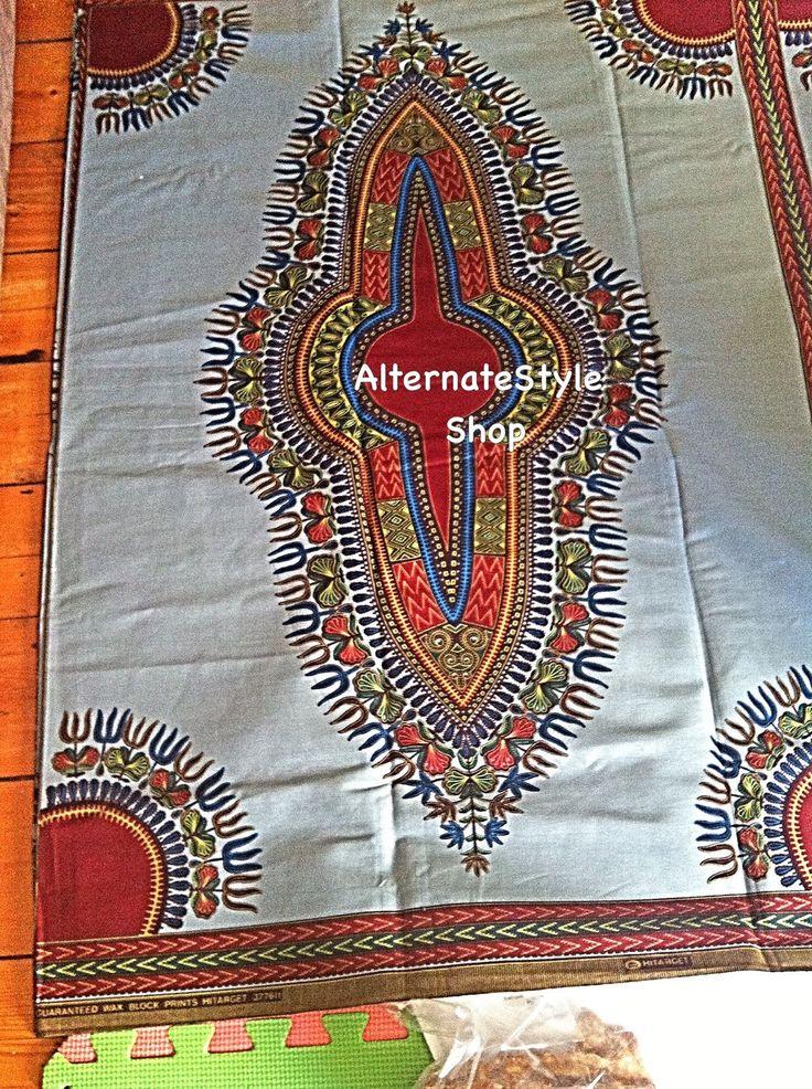 2016 Dashiki Fabric Dashiki African Print Wax Yards // 1 Yard Has 1 Panel//Grey Dashiki Fabric