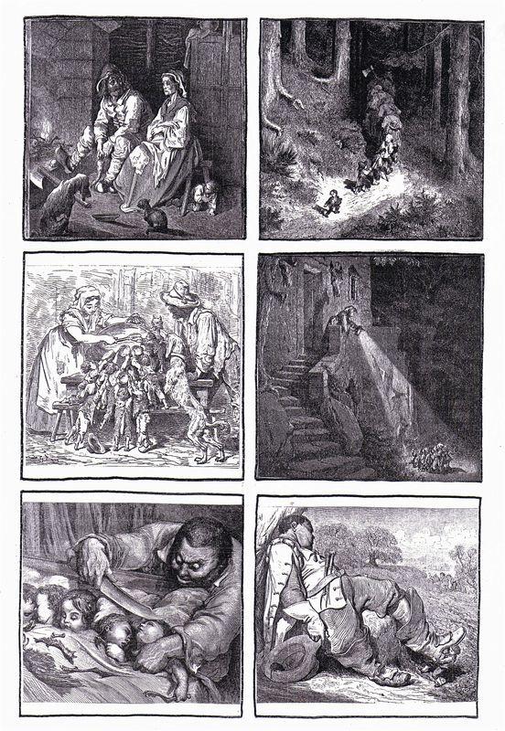 6 images séquentielles du Petit Poucet de Charles Perrault, illustrations de Gustave Doré