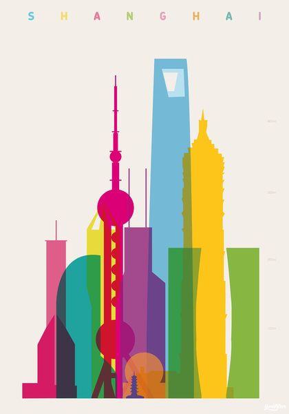 Shapes of Shanghai in scale    by Yoni Alter