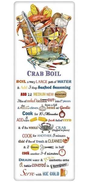 The true workhorse of any kitchen; the flour sack dish towel. Designed by Mary Lake Thompson, featuring a recipe for the perfect crab boil.