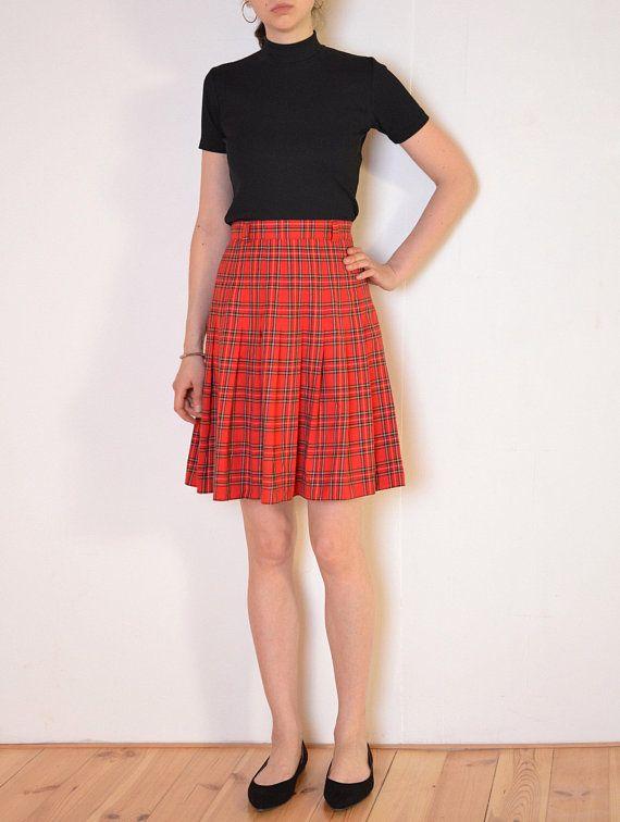 midi red plaid skirt checked knee length skirt red 80/'s tartan skirt with pleat detail green black yellow skirt navy