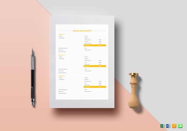 Sample Hotel Receipt Template  $12  Formats Included : MS Excel, MS Word, Numbers, Pages File Size : 8.27x11.69 Inchs, 8.5x11 Inchs #HotelReceiptTemplate #Documents #Documentdesigns #Receiptdocuments #Receipttemplates