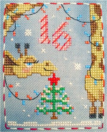 Gigi Giraffe # 16 of 25 Brooke's Books Publishing Advent Animals free cross stitch charts by Brooke Nolan. #animaladvent #adventanimals #crossstitch #brookesbooks #brookesbooksstitching #crossstitch #christmascrossstitch #brookesbookspublishing