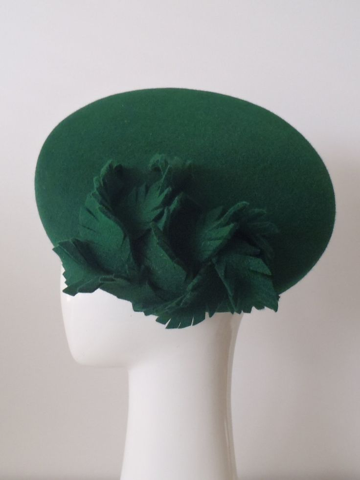Miss Green. Made to Order. Felt oval beret hat for women. Trimmed with a tangle of felt 'feathers'. Lined in silk. by GreerMcDonaldHats on Etsy https://www.etsy.com/listing/154674439/miss-green-made-to-order-felt-oval-beret