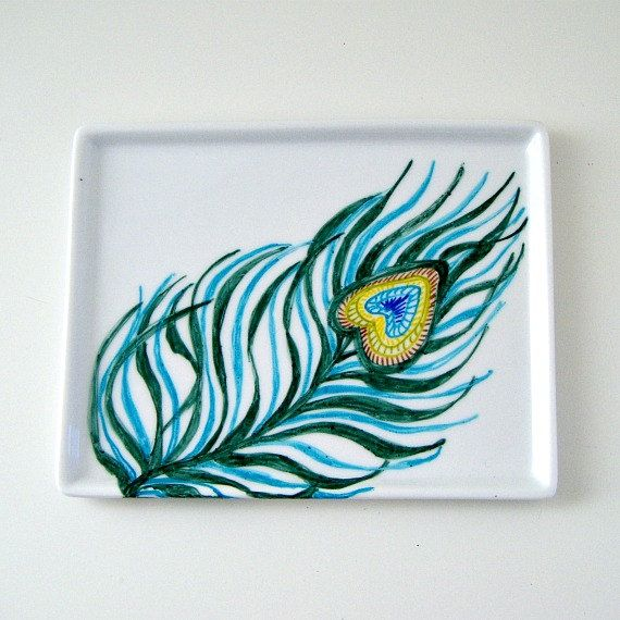 Peacock Feather Tray Ceramic Hand Painted Turquoise Blue Green Yellow Brown Nature Home Decor Modern small Platter