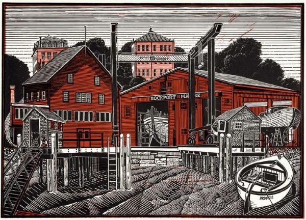 """Rockport, Maine"" linocut by James Dodds RCA (b.1957). www.jamesdodds.co.uk Tags: Linocut, Cut, Print, Linoleum, Lino, Carving, Block, Woodcut, Helen Elstone, Sea, Water, Boats, Buildings"