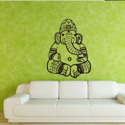 Wall decal art decor decals sticker Ganesh  Buddhism India Indian namaste Buddha OM Yoga success god lord (m82) on Etsy, $27.98