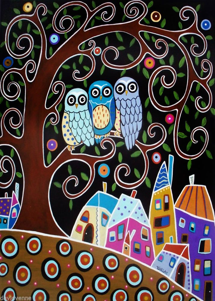 Karla Gerard Three Owl Tree Town Landscape Canvas ACEO Folk Art Print