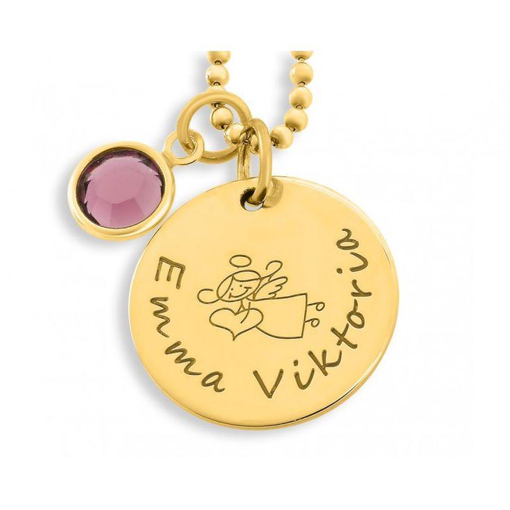 Wunderschöne hochwertig vergoldete Taufkette mit Gravurplättchen. Daneben hängt ein Swarovski Geburtsstein in der Farbe des Geburtsmonates bzw. in Ihrer Wunschfarbe.