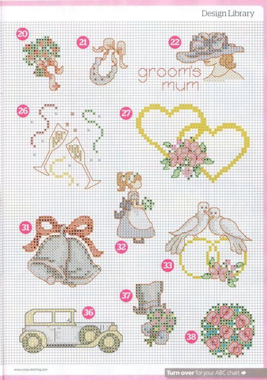 Схемы вышивки к свадебной открытки, защитой диплома