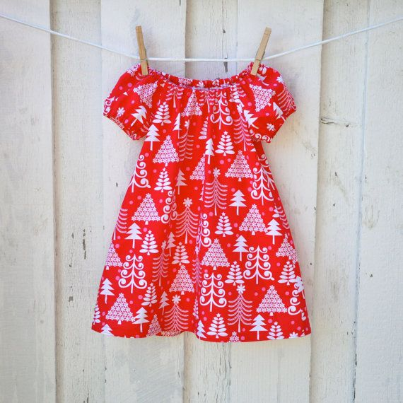 Toddler Christmas Dress Red pink and White by OrangeBlossomKids