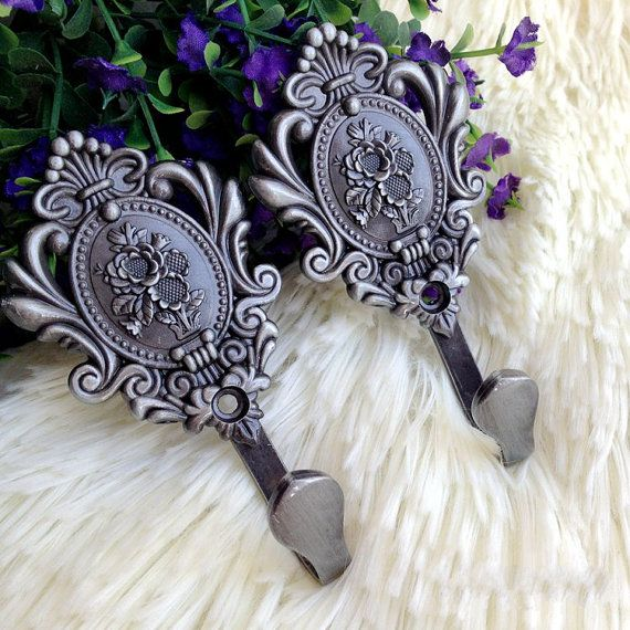 Decorative Wall Hooks / Curtain Tie-backs Tiebacks Hardware Vintage Look Metal Wall Hook /Antique Black Nickel Hat Coat Rack Hangers Hanger $7 etsy