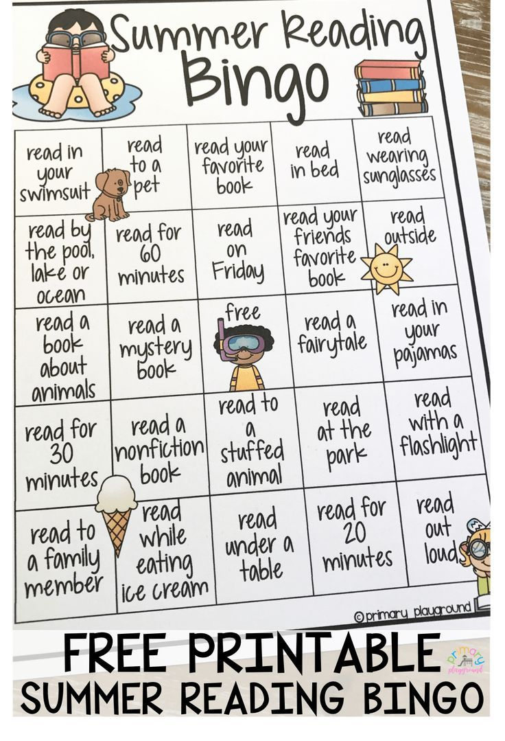 Summer Reading Bingo Primary Playground Summer Reading Activities Summer Reading Challenge Summer Reading Program Free reading resources for preschool