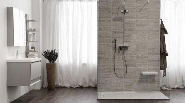 Douche l 39 italienne encastrable 50 salles de bains modernes design - Douche italienne grise ...