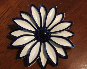 Blue and White Metal Flower Enamel Brooch Pin