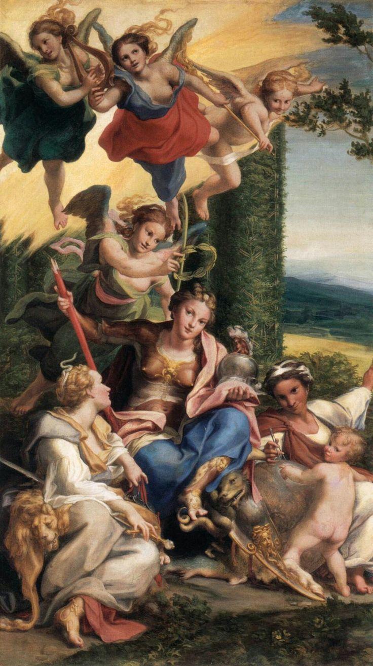 Allegoria della Virtù.  Commissionata da Isabella d'Este con l'allegoria del vizio nel 1531 per lo studiolo. Fu donata nel 1627 al Cardinale Richelieu