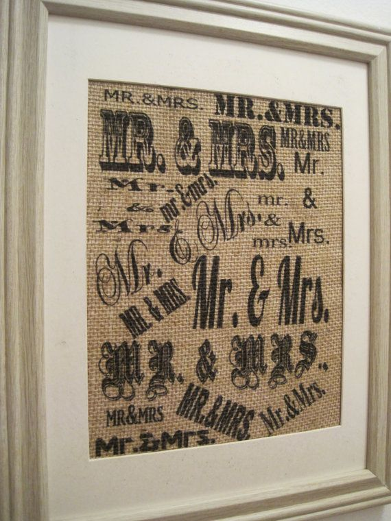 Mr Mrs Collage Burlap PrintBurlap Wedding By SunBeamSigns On Etsy 2100