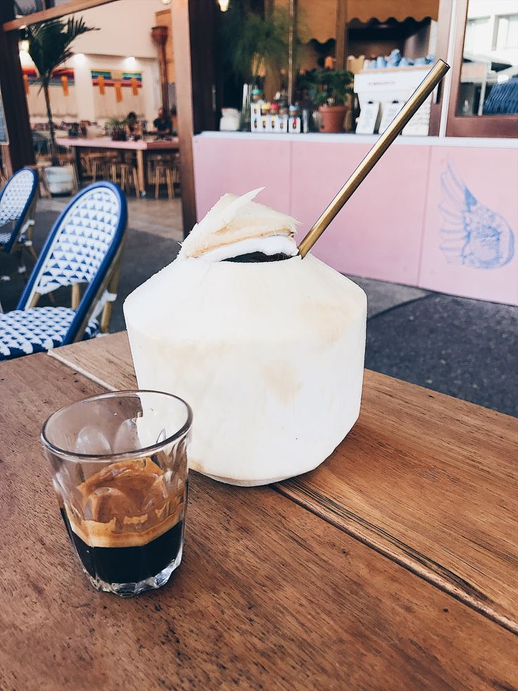 Pacific Gold straw with fresh coconut and espresso!