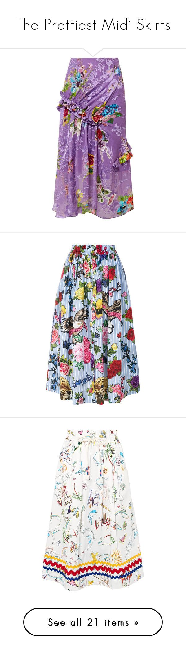 """The Prettiest Midi Skirts"" by polyvore-editorial ❤ liked on Polyvore featuring midiskirts, skirts, purple, floral knee length skirt, frilled skirt, flounce skirt, floral print skirt, ruffle midi skirt, blue and floral midi skirt"