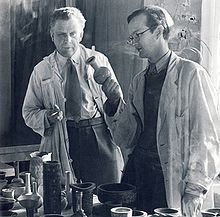 Master Wilhelm Kåge and his apprentice Stig Lindberg (right), Gustavsberg, ca 1938