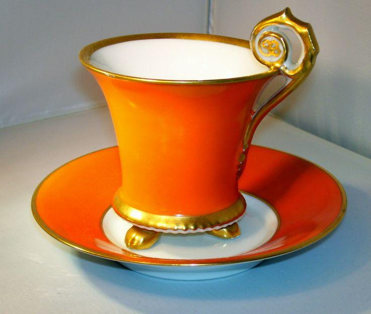 Limoges  Orange Gold Tea Cup Saucer