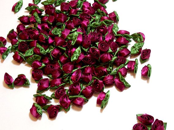 Wine and Moss Wine Roses Offray Rolled Ribbon Rose Satin Flowers X 10 pieces Wine Red Rose Flower Appliques