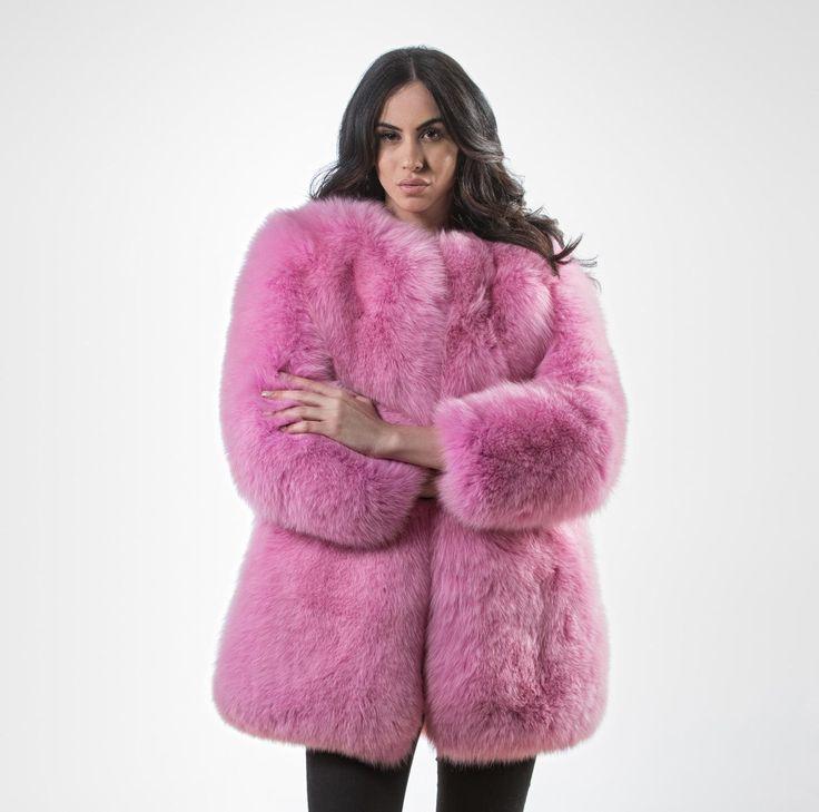 Pink Fluffy Fox Fur Jacket.