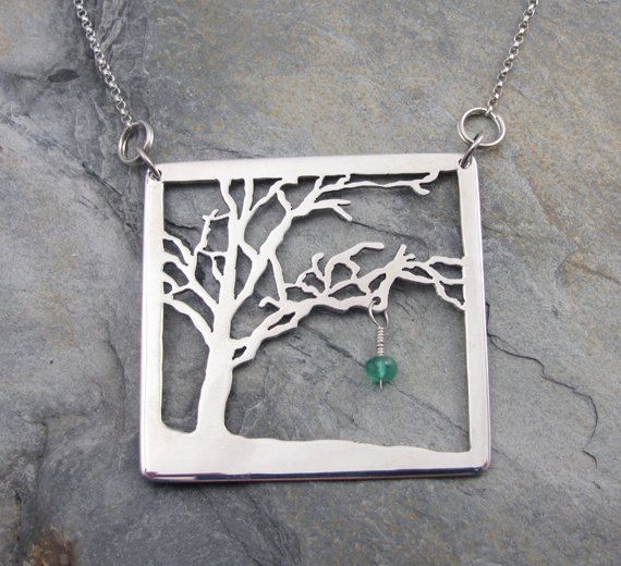 Sterling Silver Tree necklace with Emerald bead dangle by AmityJewelry - amazing piercing
