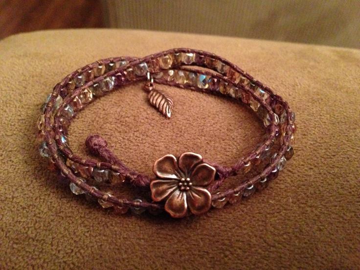 Double wrap made with brown Irish linen, Czech glass beads an a copper button