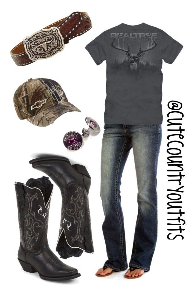 """Realtree"" by justagirlfromthesouth ❤ liked on Polyvore featuring Realtree, Bullet and Justin"