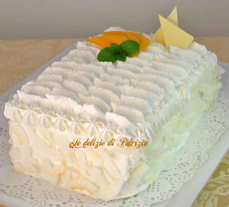 Torta cocco e mango ©Le delizie di Patrizia Gabriella Scioni  Ricette su:  Facebook: https://www.facebook.com/Le-delizie-di-Patrizia-194059630634358/ Sito Web: https://ledeliziedipatrizia.com