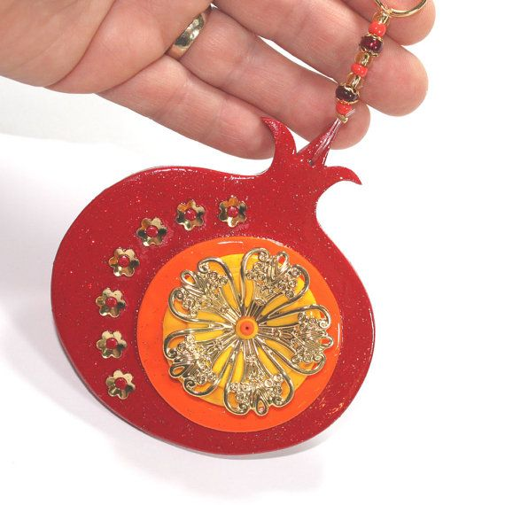 #ShuliDesigns #fimo #handmade #clay #Walldécor ROSH HASHANAH gift Wall decor red Pomegranate by ShuliDesigns, $31.00