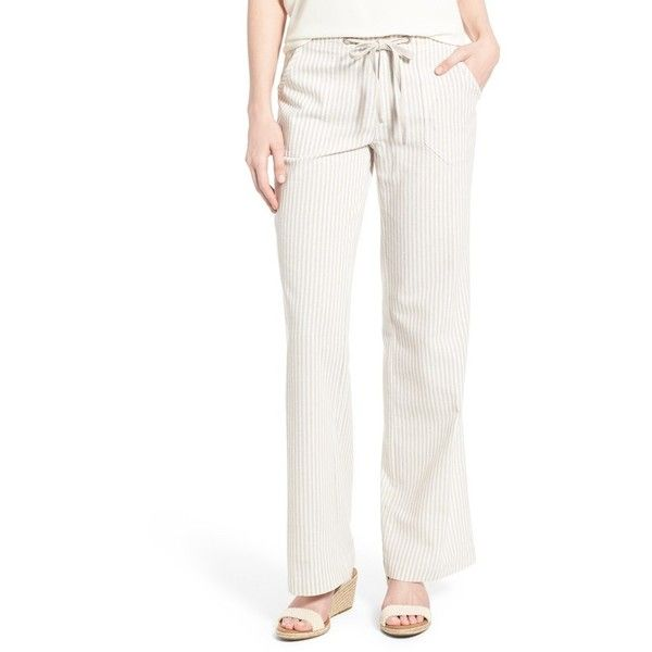 Sanctuary 'Newport' Pants ($109) ❤ liked on Polyvore featuring pants, linen strip, straight leg pants, white beach pants, sanctuary pants, white straight leg pants and zip pants