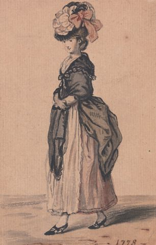 Attributed to John Collet, ca. 1725–1780, British, A Lady of Fashion with Black Shawl and Black Shoes, 1778, Watercolor, pen and black ink on medium, moderately textured, cream laid paper mounted to card, Yale Center for British Art, Paul Mellon Collection