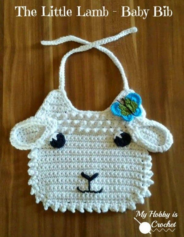 Little lamb #crochet baby bib free pattern @myhobbyiscroche