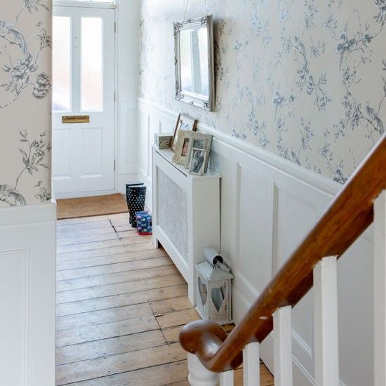hall-vintage-home love the floor & the wall panelling/wallpaper combo works perfectly