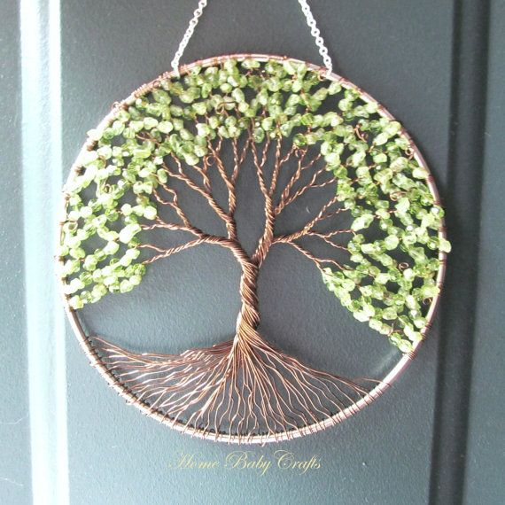 Peridot Olive Tree Wire Tree of Life Wall by HomeBabyCrafts