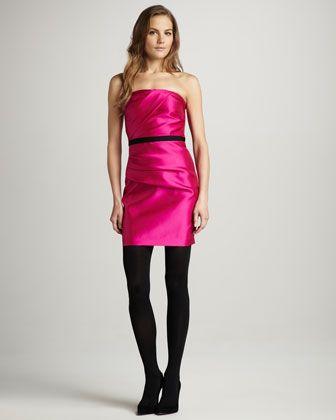 Gathered Strapless Satin Dress - Neiman Marcus