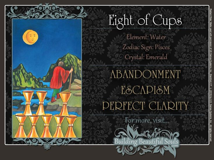 THE Eight of Cups TAROT CARD MEANINGS - UPRIGHT& REVERSED! The Eight of Cups Tarot includes LOVE, NUMEROLOGY, & SYMBOLS for more accurate TAROT READING.