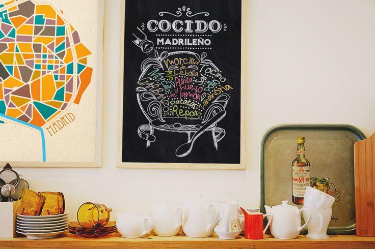 """Laminas """"Madrid"""" y """"Cocido Madrileño"""" por El Bicho Bola #Madrid #cocido #cocidomadrileño #cocina #gastronomia #mapas #laminas #prints #decoración"""