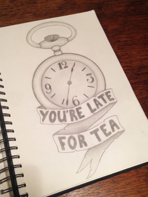 Sketching drawing of clock and tea