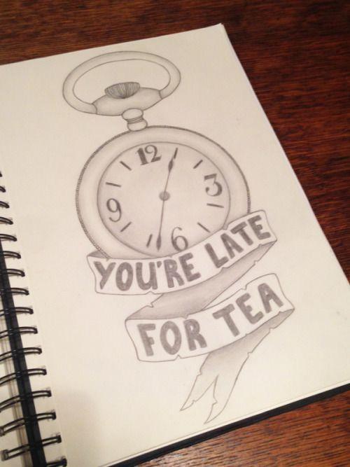 Sketching drawing of clock and tea