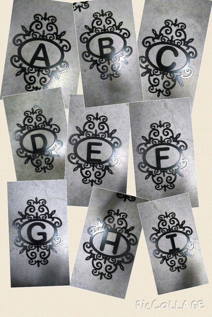 Monogram initial sign. Custom letter scroll. House number